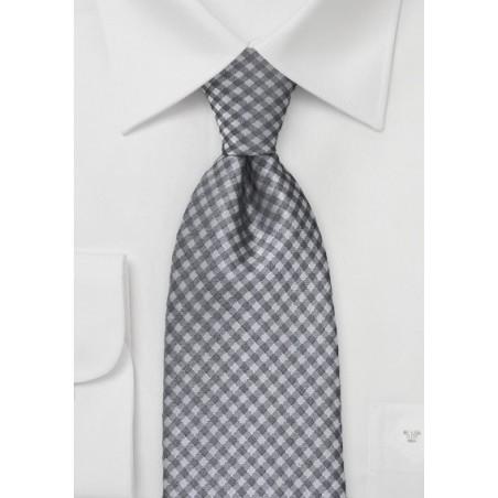 Heather Grey Gingham Tie in Kids Size