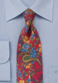 Luxe Floral Tie in Tropical Reds