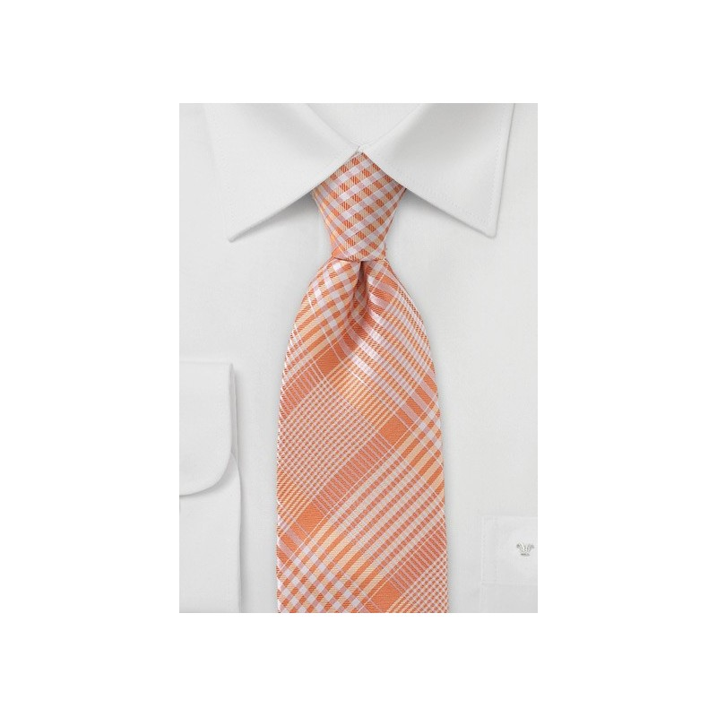 Peach Orange Glen Check Tie
