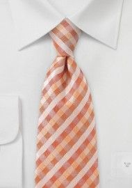 Plaid Tie in Tropical Oranges