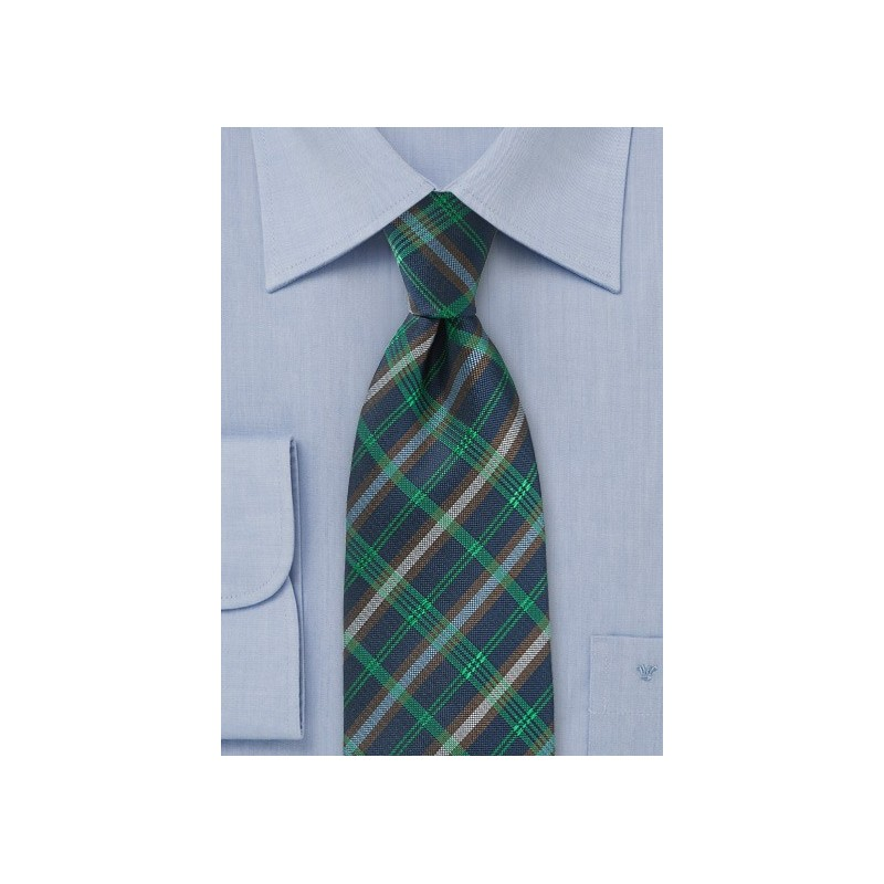 Modern Plaid Tie in Navy and Greens