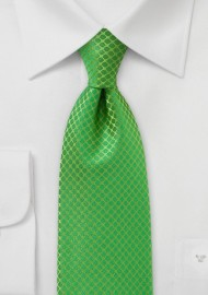 Art Deco Tie in Bright Kelly Green
