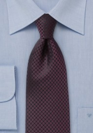 Sophiscated Burgundy and Black Patterned Necktie