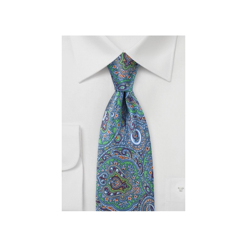 Mens Moroccan Paisley Tie  in Blues and Greens