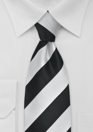 Elegnat Black and Silver Striped Tie in XL Length