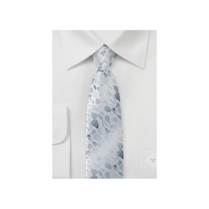Skinny Designer Tie in Silver and Gray