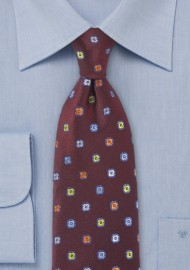 Cranberry Color Silk Tie with Colorful Flower Accents
