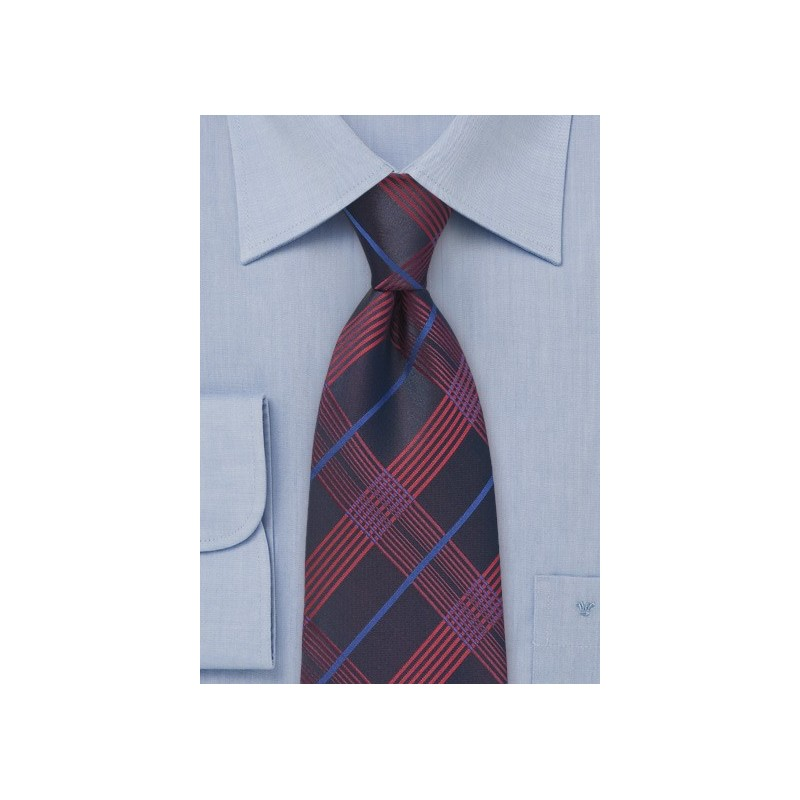 Pure Silk Navy Tie in Plaid Pattern