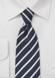 Very Deep Navy Silk Striped Tie