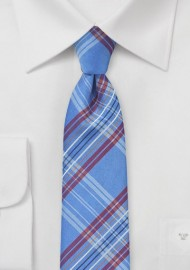 French Blue Tartan Plaid Tie