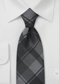 Oversized Plaid XL Tie in Charcoals