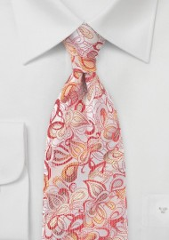 Embroidered Floral Tie in Reds and Silvers