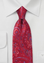 Luxe Paisley Tie in Red, Blue, and Yellow