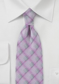 Diamond Patterned Tie in Pinks and Grays