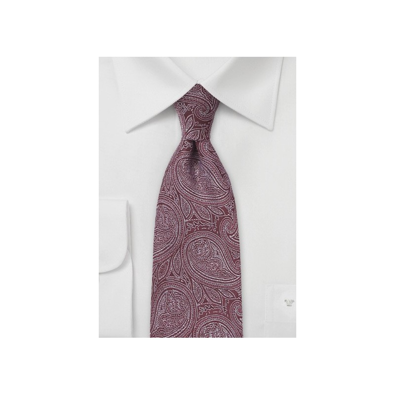 Designer Paisley Tie in Burgundy and Silver