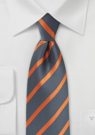 Orange and Gray Striped Tie