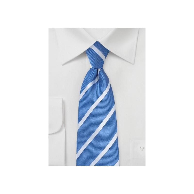 Repp Striped Tie in Blue and Silver