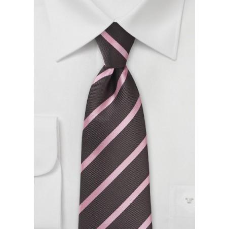Espresso and Pink Striped Tie