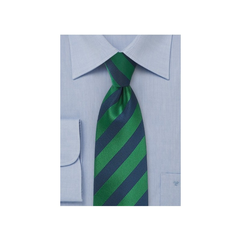 Diagonal Striped Tie in Hunter Green and Navy