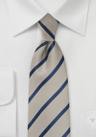 Platinum and Navy Stripe Tie