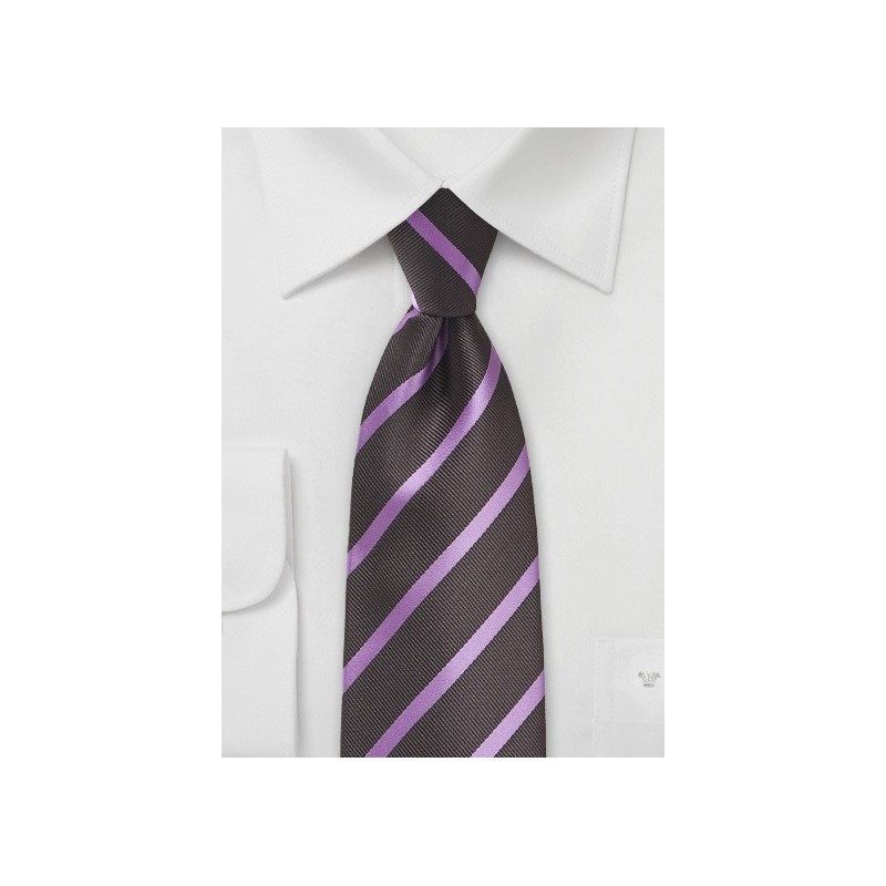 Espresso and Lavender Striped Tie