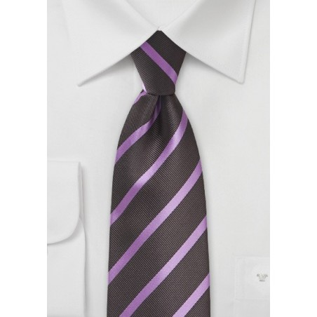 Espresso and Lavender Striped Tie