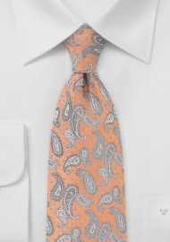 Woven Paisley Dotted Tie in Pure Silk