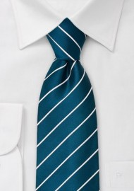 Kids Turquoise and White Striped Tie