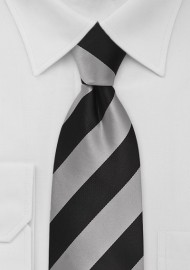 XL Striped Necktie in Gray and Black