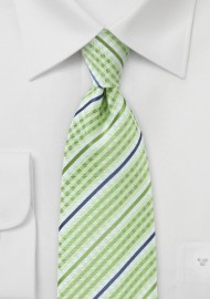 Lime Green Plaid Tie with Blue Accents