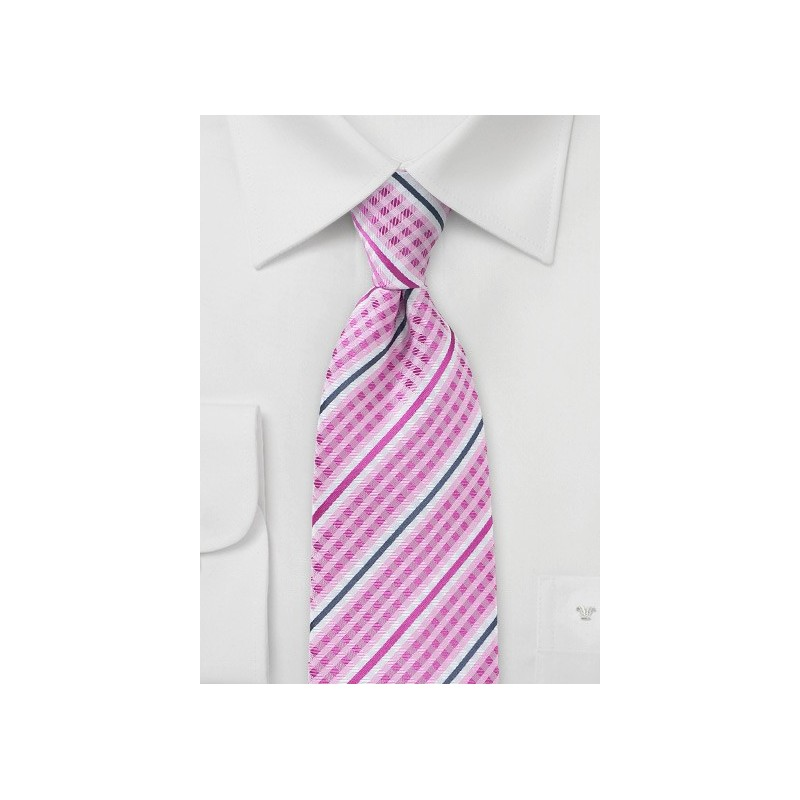 Checked Bowtie in Fuchsia with Navy Accents