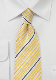 Canary Yellow Checked Tie