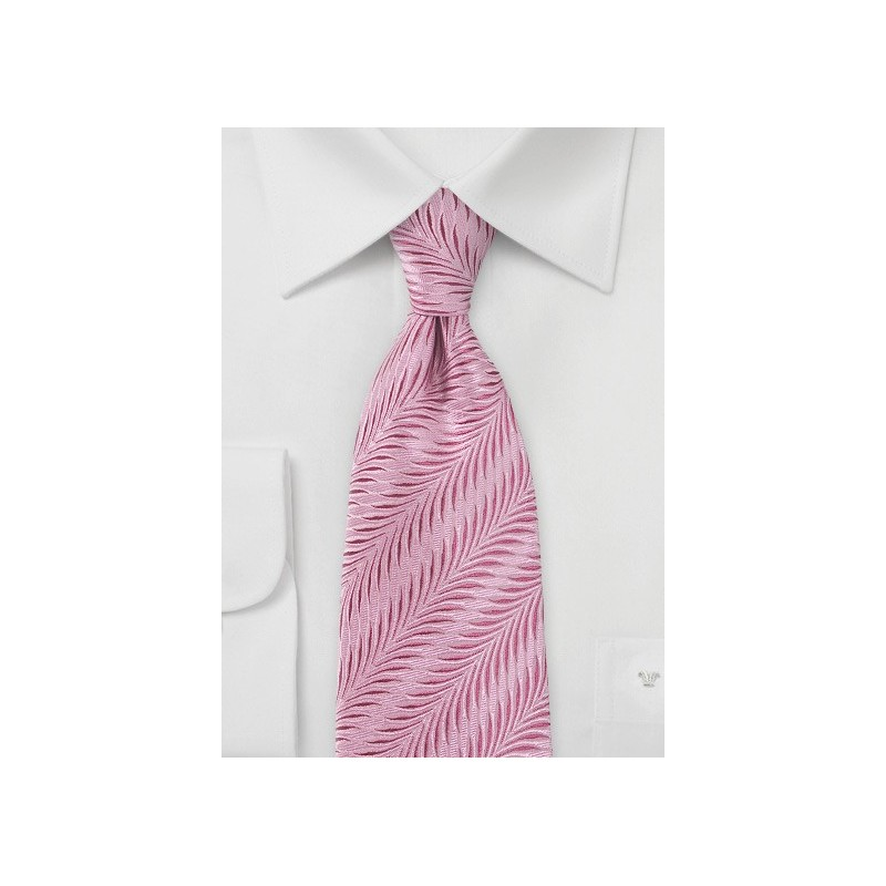 Pure Silk Carnation Pink Tie with Art Deco Design