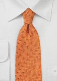 Monarch Orange Necktie in Pure Silk with Art-Deco Style