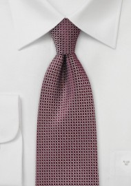 Retro Graphic Print Tie in Burgundy