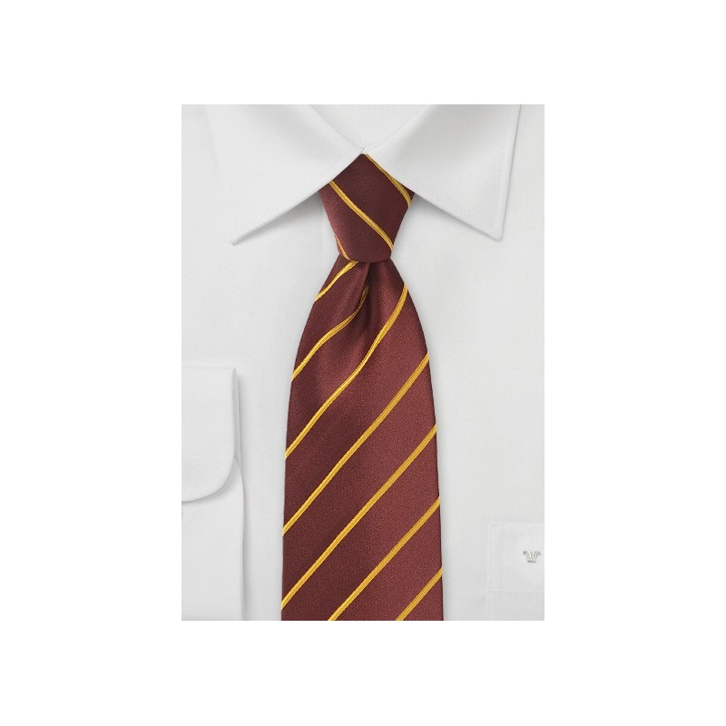 Cinnamon Hued Tie with Narrow Mustard Stripes