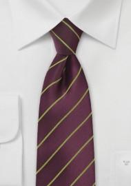 Eggplant Purple Necktie with Subtle Lime Accents