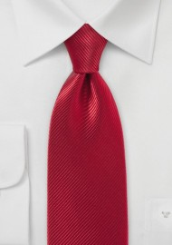 Ribbed Ruby Red Tie in Pure Silk