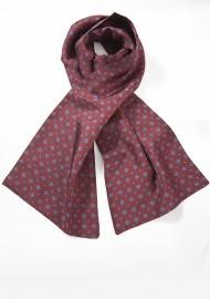 Designer Silk Scarf in Burgundy and Blues
