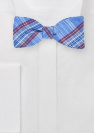 French Blue Plaid Bow Tie
