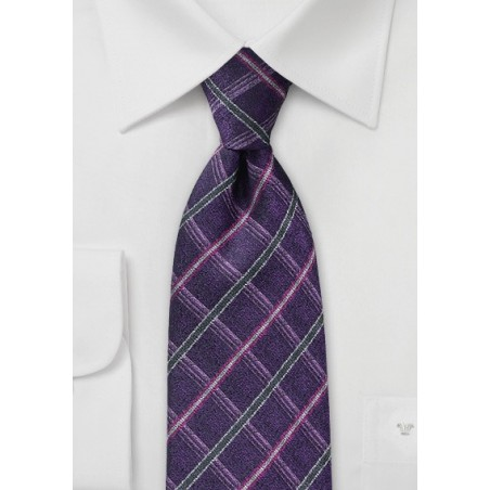 Violet Check Tie in Pure Silk