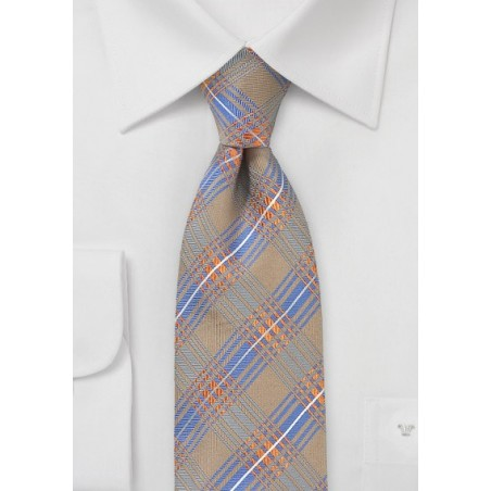 Modern Plaid Tie in Tan, Orange, Blue