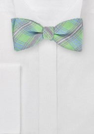 Artisan Plaid Bow Tie in Mint Green