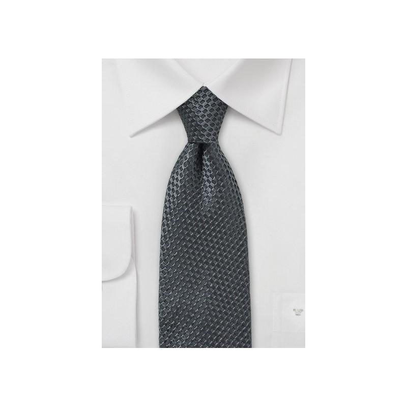 Smoke Gray Textured Silk Tie