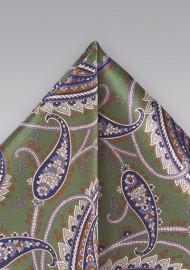 Designer Paisley Tie in Muted Greens