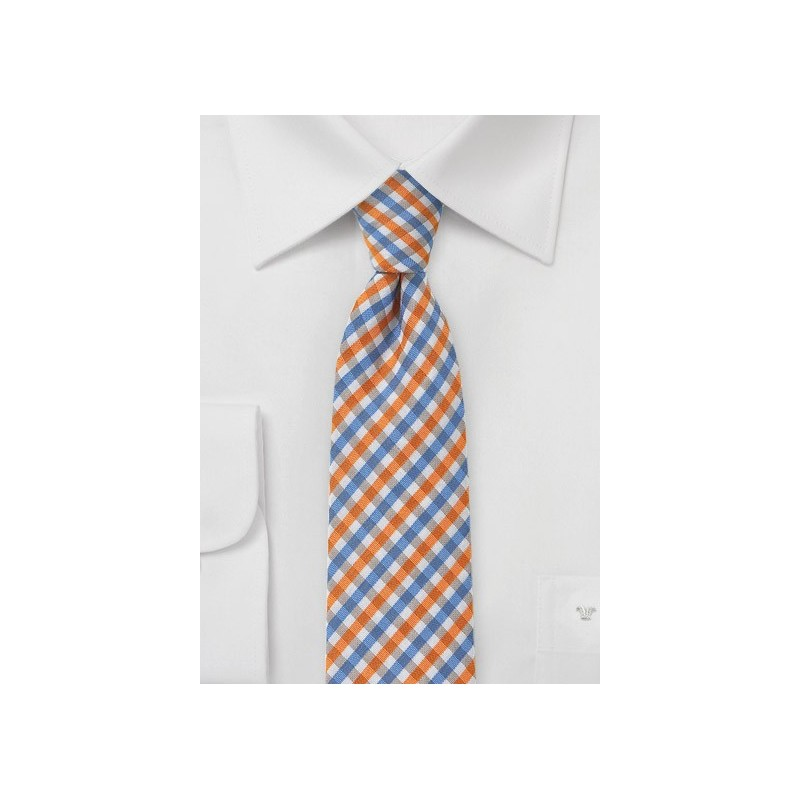 Slim Gingham Tie in Oranges and Blues