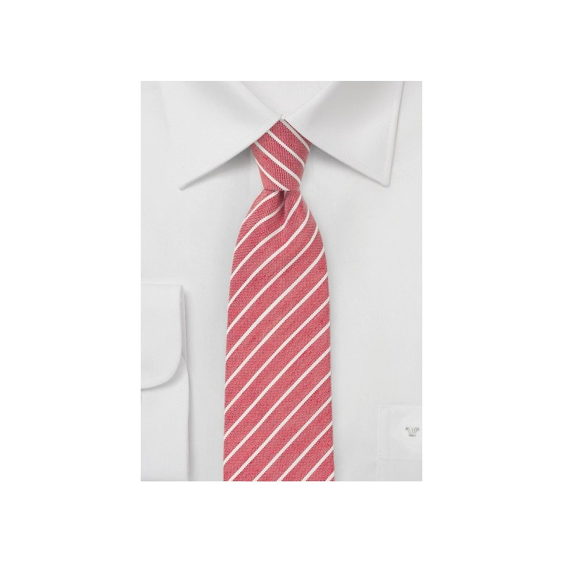 Red and White Stripe Linen Tie
