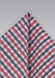 Gingham Pocket Square in Blues and Pinks