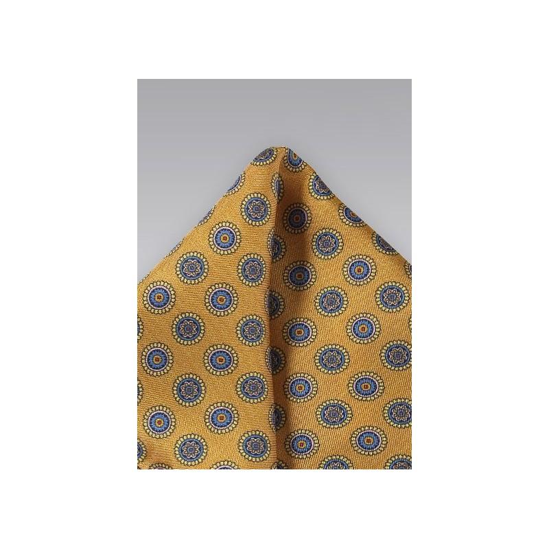 Golden Amber Silk Pocket Square
