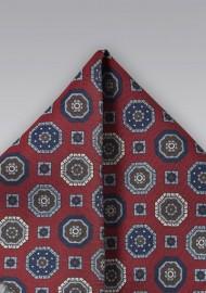 Vintage Silk Pocket Square in Burgundy